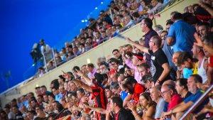 El derbi entre el CF Reus i el Nàstic a l'Estadi Municipal de Reus