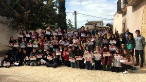 Foto grupal dels 70 alumnes guardonats, de 1r a 4t d'ESO del centre