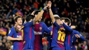 Los jugadores del Barça, celebrando un tanto