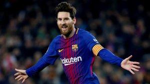 Messi celebra el segon gol contra el Girona.