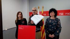 Sandra Guaita, Andreu Martín i Anabel Martínez durant la roda de premsa d'aquest matí