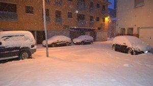 Una imatge de la nevada a Santa Coloma de Queralt.