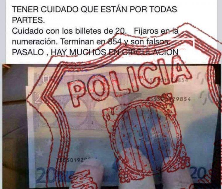 El missatge sobre bitllets de 20 euros falsos que els Mossos han desmentit