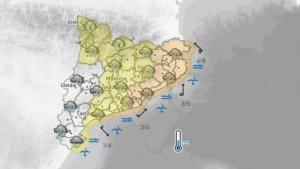 Dimecres al matí les precipitacions més abundants se centraran a les comarques de Girona i Barcelona