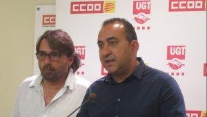 Els secretaris generals de CCOO de Catalunya i de la UGT de Catalunya, Javier Pacheco i Camil Ros