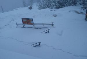 Imatge de la nevada d'aquest dimecres a Port Ainé