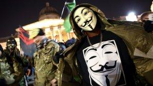Marcha del millón de máscaras de 2016 en Londres.