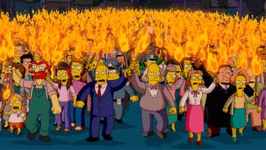 Secuencia de Los Simpson que ejemplifica una oclocracia.