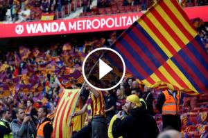 Una bandera estelada al Wanda Metropolitano.