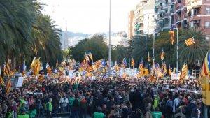 Una imatge de l'anterior manifestació a Barcelona per la llibertat dels presos, al novembre.