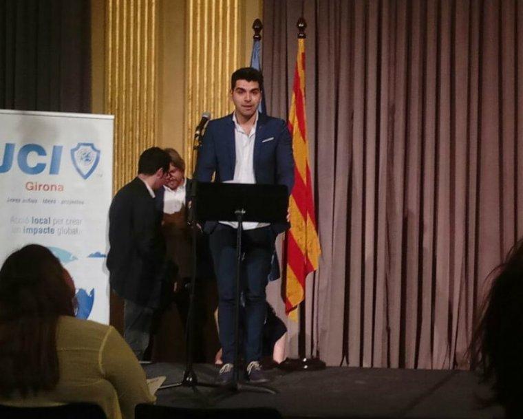 Joan Folguera recollint el premi