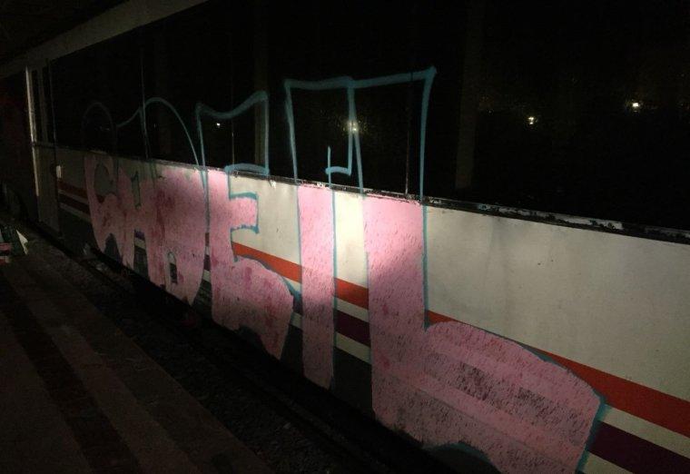 Un del vagons tren pintat amb esprai a l'estació de trens de Cervera