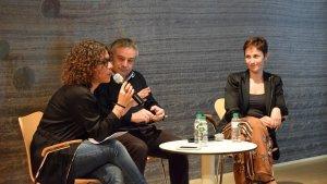 (D'esquerra a dreta) Ruth Troyano, Quim Vila i Sílvia Culell, durant el debat