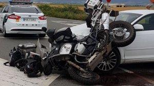 Imagen de archivo de una colisión entre varias motos y un turismo