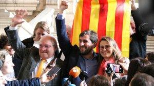 Imatge d'arxiu dels exconsellers Toni Comín, Meritxell Serret i Lluís Puig.