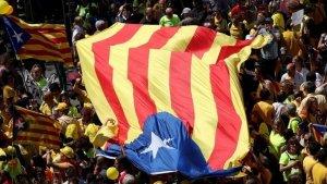 Imatge d'una gran estelada en una de les manifestacions a Barcelona