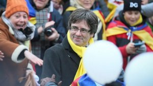Puigdemont durant la manifestació a Brussel·les