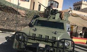 Un dels carros de combat al Bruc, a Barcelona.