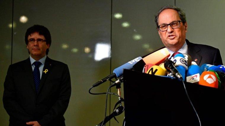 Quim Torra i Puigdemont a la roda de premsa oferta a Berlin