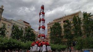 3de9 amb folre de la Colla Joves Xiquets de Valls a la diada del Pati