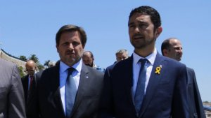 El president del Port de Tarragona, Josep Andreu, i el conseller de Territori, Damià Calvet.