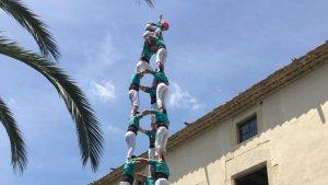 Els Castellers de Vilafranca van descarregar el 3de9 amb folre a Can Cassanyes