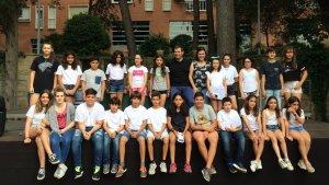 Els membres del CIAC amb l'alcalde Escolà i la regidora Vila