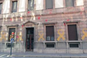 Imatge de la pintada a la subdelegació del govern espanyol a Lleida