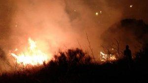 Imatge de l'incendi que ha tingut lloc aquesta nit a Collserola