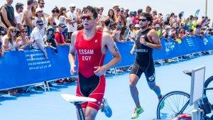Imatge del final del recorregut del triatló masculí dels Jocs Mediterranis a Altafulla.