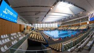 imatge del Palau d'Esports de l'Anella Mediterrània del dissabte, durant la competició d'Handbol