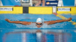 Imatges de la jornada de natació a l'Anella Mediterrània dels Jocs Mediterranis