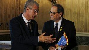 L'alcalde Josep Fèlix Ballesteros i el president Quim Torra el passat dimecres abans d'inaugurar el Palau d'Esports.