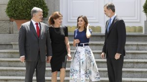 Los reyes de España junto al presidente de Ucrania, Petró Poroshenko, y su esposa, Maryna Poroshenko
