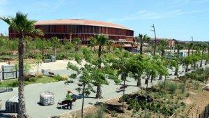Obres de finalització del Palau d'Esports a Campclar