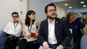 Pere Aragonès, Lluís Salvadó i Joan Tardà, a l'inici del Consell Nacional d'ERC