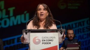 Yolanda López durant un míting al seu municipi, al Vendrell.