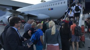 Carles Puigdemont, embarcant a l'avió que l'ha portat aquest matí fins a Brussel·les