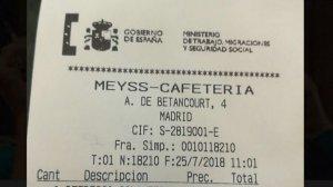 Cuenta de la cafetería del Ministerio de Trabajo