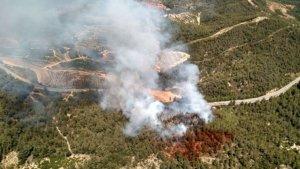 Imatge aèria de l'incendi a Tivissa