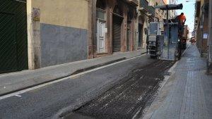 Imatge d'arxiu de treballs d'asfaltat