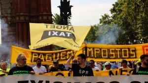 Imatge de la manifestació de taxistes a Barcelona