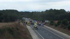 Imatge del lloc de l'accident a la C-65 a Llagostera