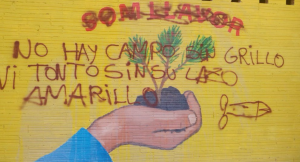 Imatge del mural de Cappont després dels atacs