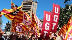 Manifestació de CCOO i UGT en motiu de l'1 de maig a Tarragona