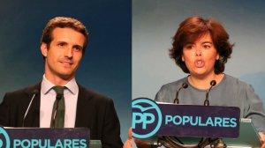 Pablo Casado i Soraya Sáenz de Santamaría es disputen la presidència nacional del PP.