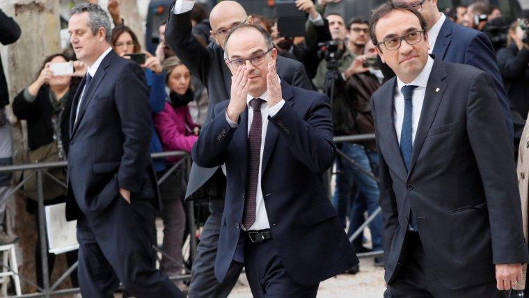 Els exconsellers Joaquim Forn, Josep Rull i Jordi Turull en una imatge d'arxiu, abans de comparèixer al Tribunal Suprem