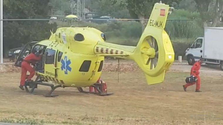 Imatge de l'helicòpter del SEM al Karting Altafulla.