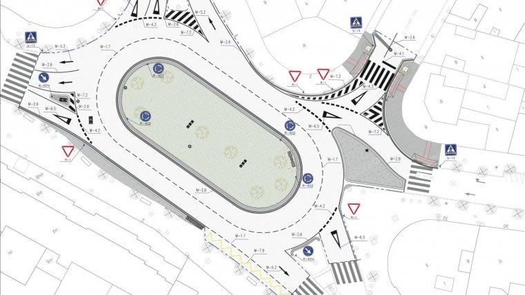 Plànol del projecte de rotonda de la plaça de Villaroel.