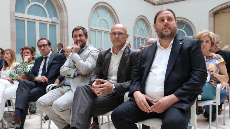 Oriol Junqueras, Raül Romeva, Toni Comín i Josep Turull, al Palau de la Generalitat